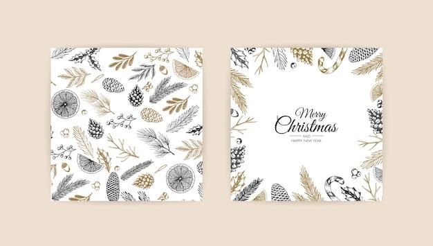 冬の植物とクリスマスフレーム Premiumベクター