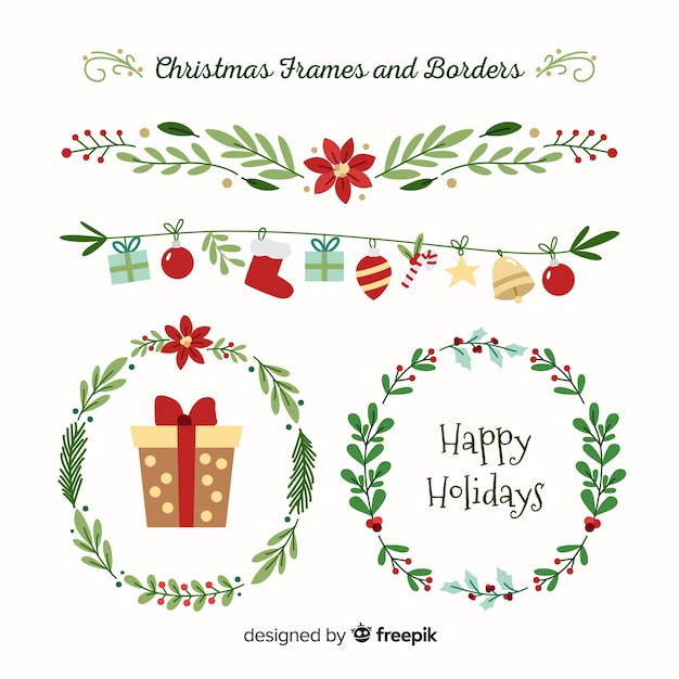 christmas frames and borders collection free vector