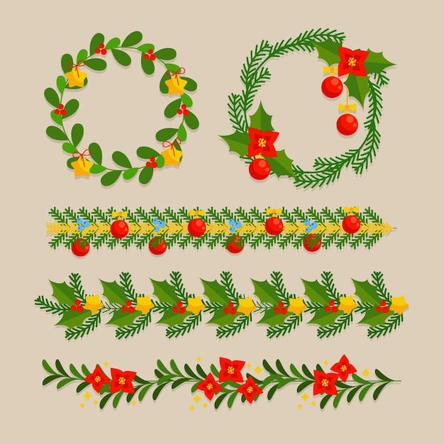 평면 디자인의 크리스마스 프레임 및 테두리 무료 벡터