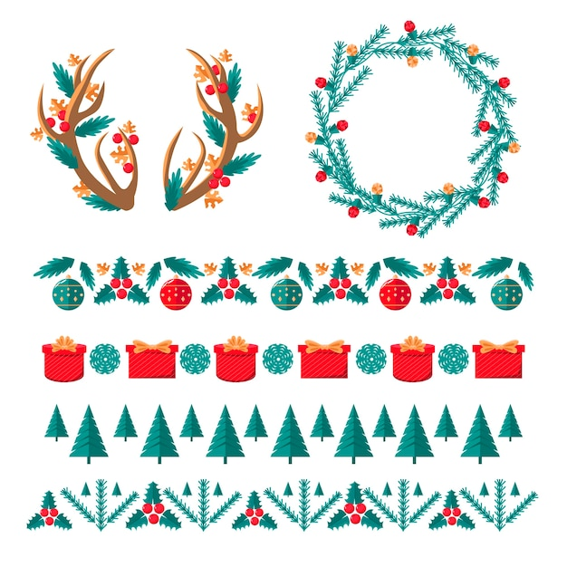 Christmas frames and borders in flat design Free Vector
