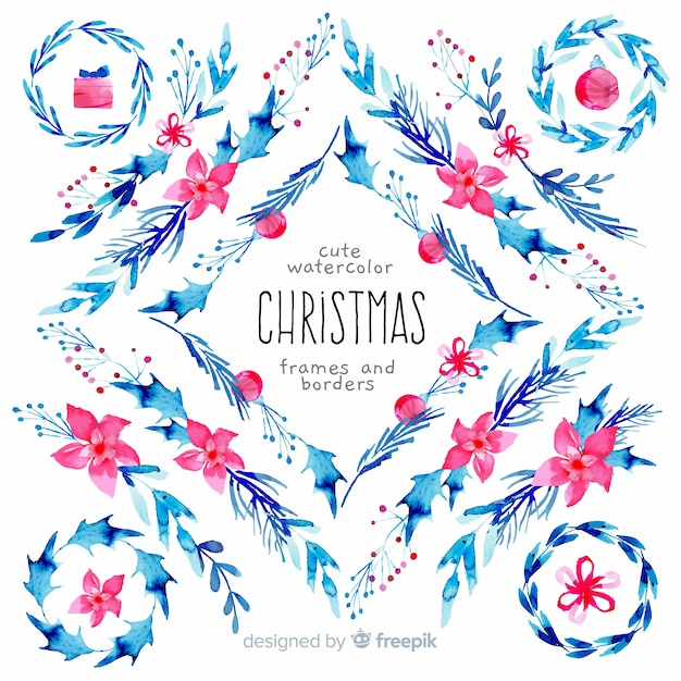 Christmas frames and borders pack Free Vector