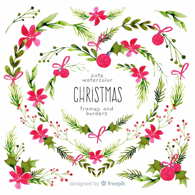 Christmas frames and borders in watercolor Free Vector