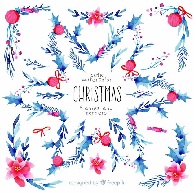 Christmas frames and borders watercolor Free Vector