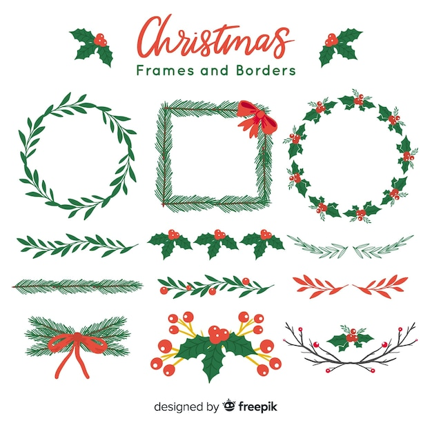 Christmas frames and borders Free Vector