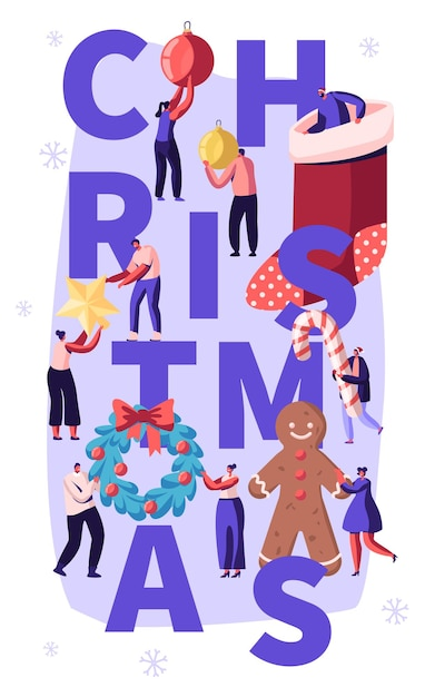 사람들이 문자로 크리스마스 재미 개념 장식 홈, 만화 평면 그림 프리미엄 벡터