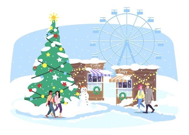 Рождественская ярмарка. люди гуляют рождественский уличный рынок. зимняя ярмарка с рыночными прилавками, колесом обозрения и рождественской елкой. новогодняя открытка Premium векторы