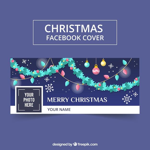 Christmas garlands design facebook cover Free Vector