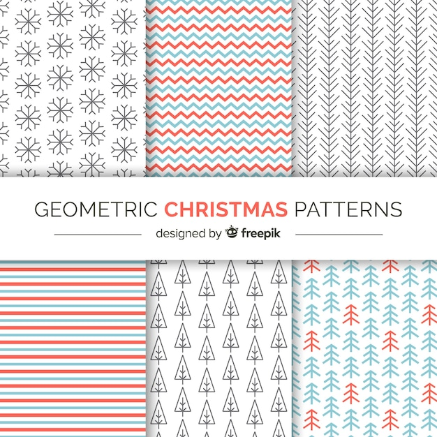 Christmas geometric patterns Free Vector
