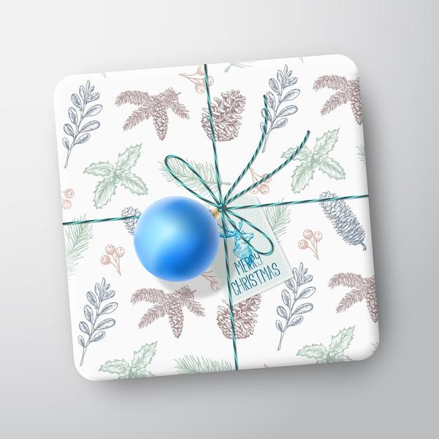 크리스마스 선물 상자 카드. 무료 벡터