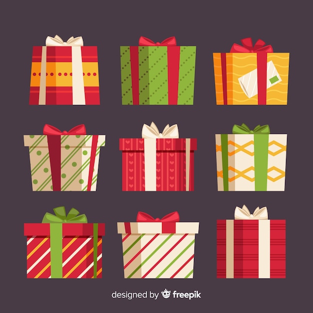 Christmas gift box collection with geometric pattern Free Vector