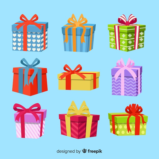 Christmas gift collection flat design style Free Vector