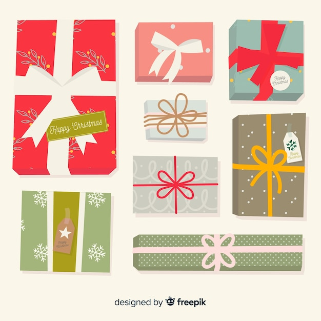 Christmas gift collection Free Vector