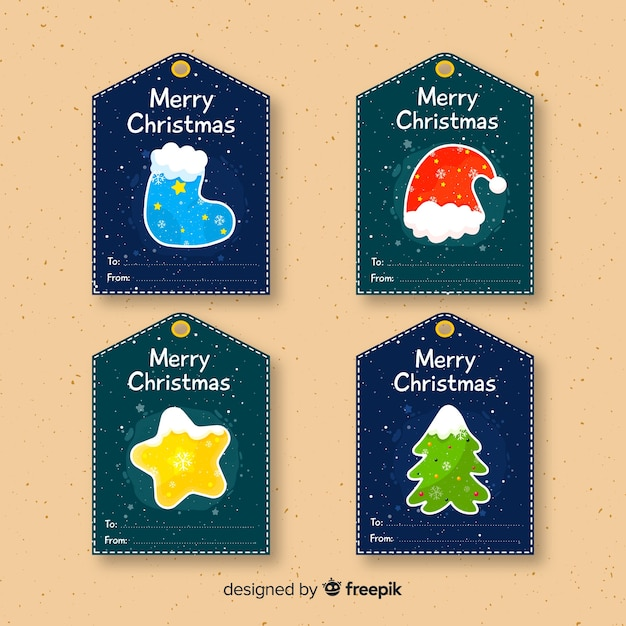 Christmas gift label collection Free Vector