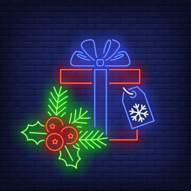 Christmas gift in neon style Free Vector