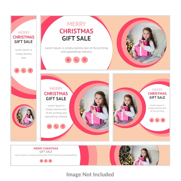 Christmas Gift Sale web banner Collection Vector | Premium Download