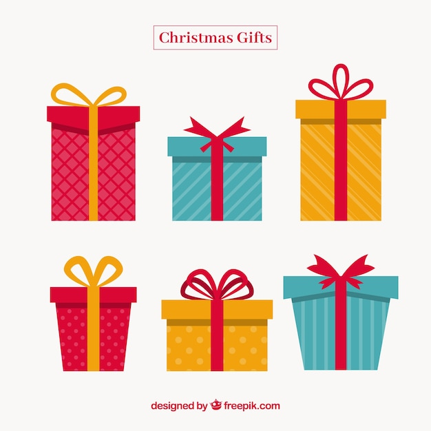 Christmas gift set in flat design Free Vector