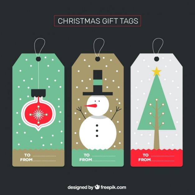 Christmas gift tag vector free
