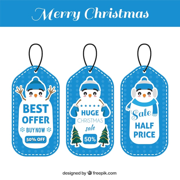 Christmas gift tags set with nice snowman