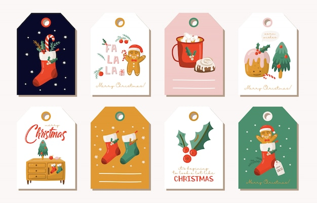 Christmas gift tags set. Premium Vector