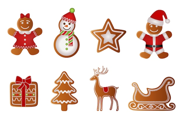 Christmas gift, tree, reindeer, sled, girl, snowman, star and santa claus gingerbread Premium Vector