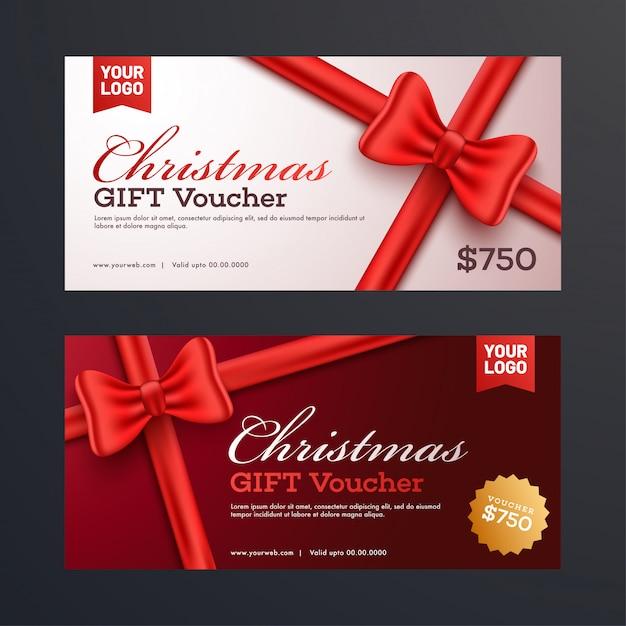 Christmas gift vouchers. Premium Vector