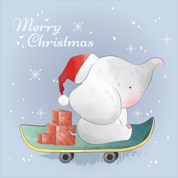 Christmas gift on the way with baby elephant Premium Vector