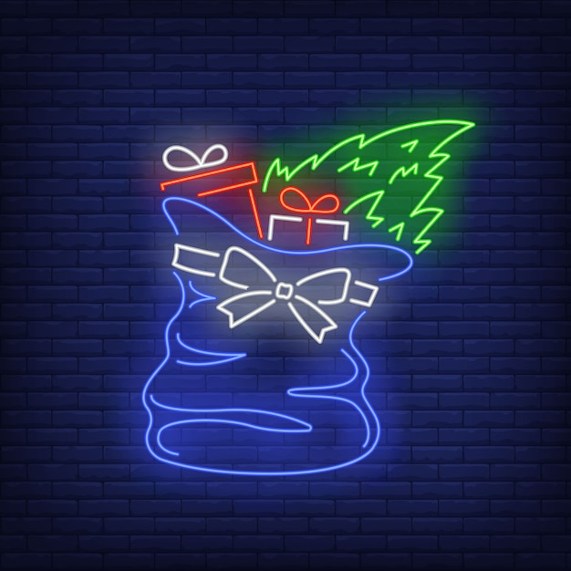Christmas gifts in bag in neon style Free Vector