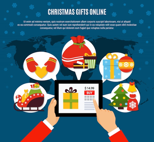 Christmas gifts buying online template Free Vector