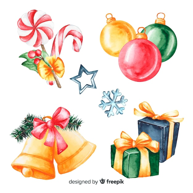 Christmas gifts and decoration in watercolour design Free Vector