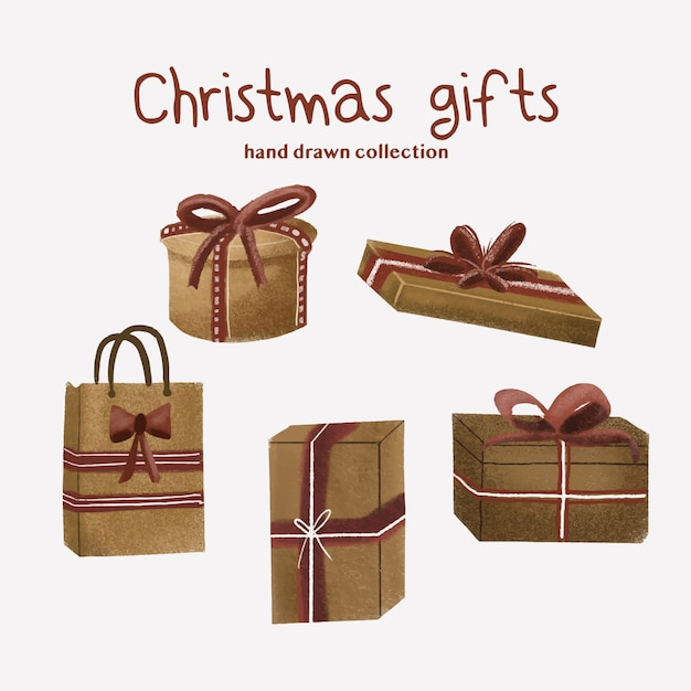 Christmas gifts - hand drawn collection Premium Vector