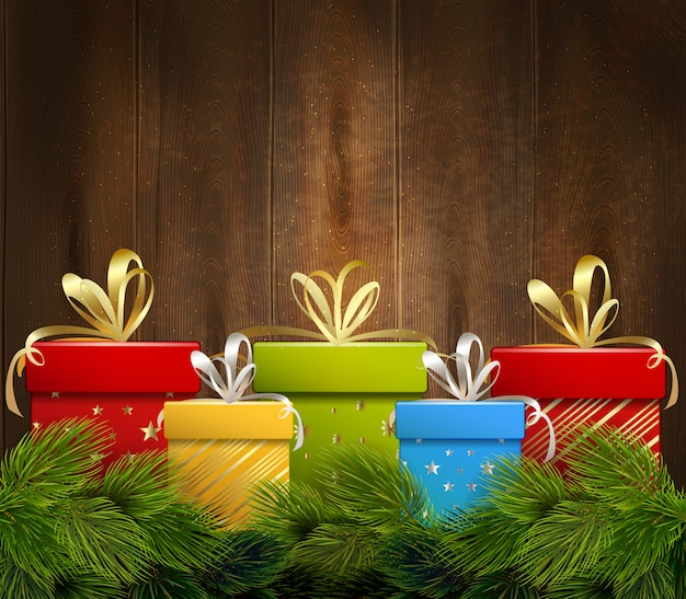 Christmas gifts wooden background Free Vector