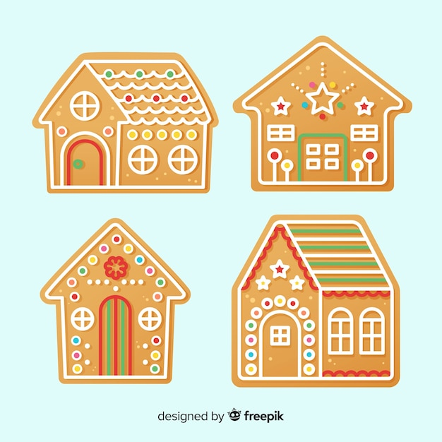 Christmas gingerbread cookie collection Free Vector