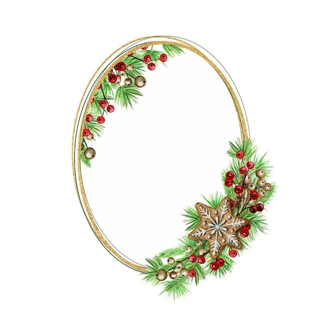 クリスマスジンジャーブレッドクッキーゴールドリース。白い背景の上の松の枝の楕円形のフレーム、テキストのコピースペースと新年の水彩手描きイラスト。 Premiumベクター
