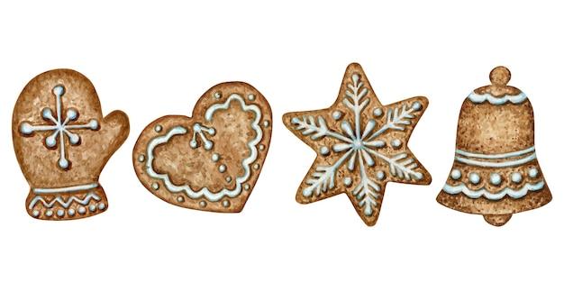 クリスマスジンジャーブレッドクッキーセット、ミトンハートベル冬休みの甘い食べ物。白い背景で隔離の水彩イラスト。クリスマスプレゼントや木の飾り。 Premiumベクター