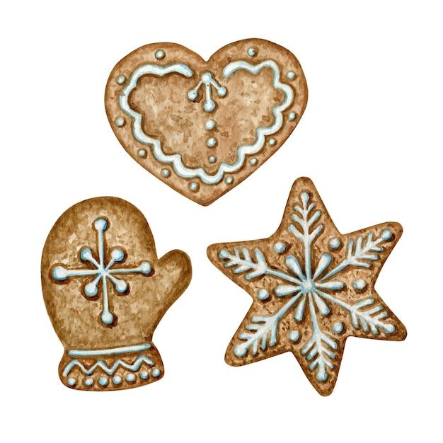 クリスマスジンジャーブレッドクッキーセット、ミトンスノーフレークスターハート、冬休みの甘い食べ物。分離された水彩イラスト Premiumベクター