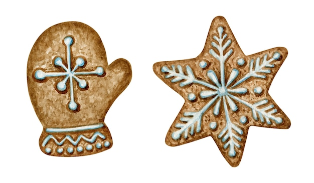 Christmas gingerbread cookies set, mitten snowflake star, winter holiday sweet food. watercolor illustration. xmas Premium Vector