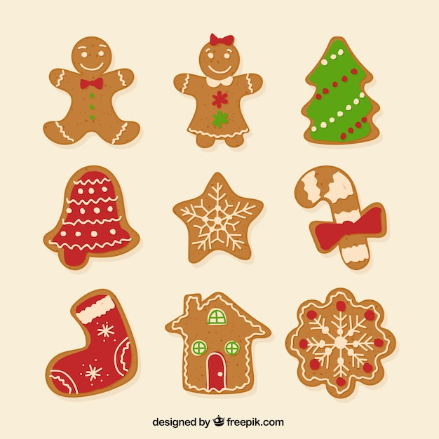 christmas gingerbread cookies set free vector - Christmas Gingerbread