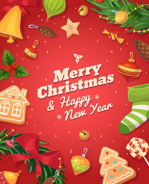 Christmas gingerbread cookies and sweets. christmas greeting card background poster. Premium Vector