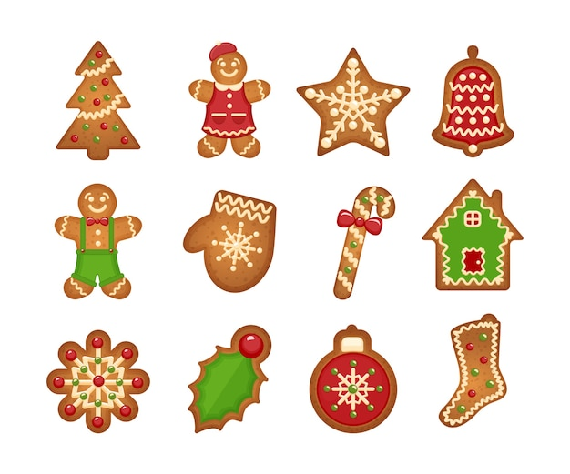 Christmas gingerbread cookies on white background. christmas tree and star, bell and house Free Vector