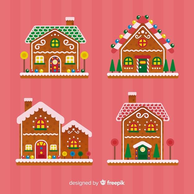 크리스마스 진저 하우스 컬렉션 무료 벡터