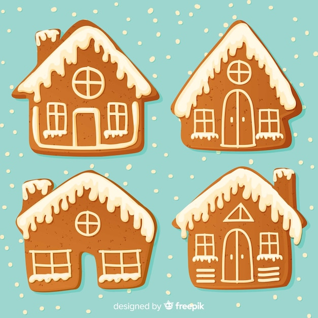 Christmas gingerbread houses collection Free Vector