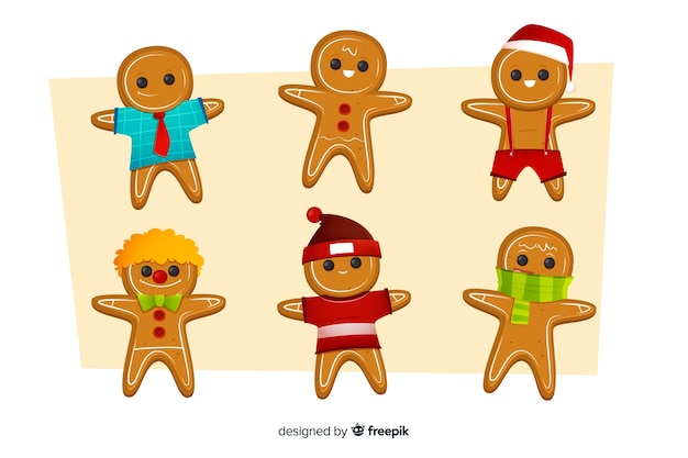 Christmas gingerbread man cookie collection Free Vector