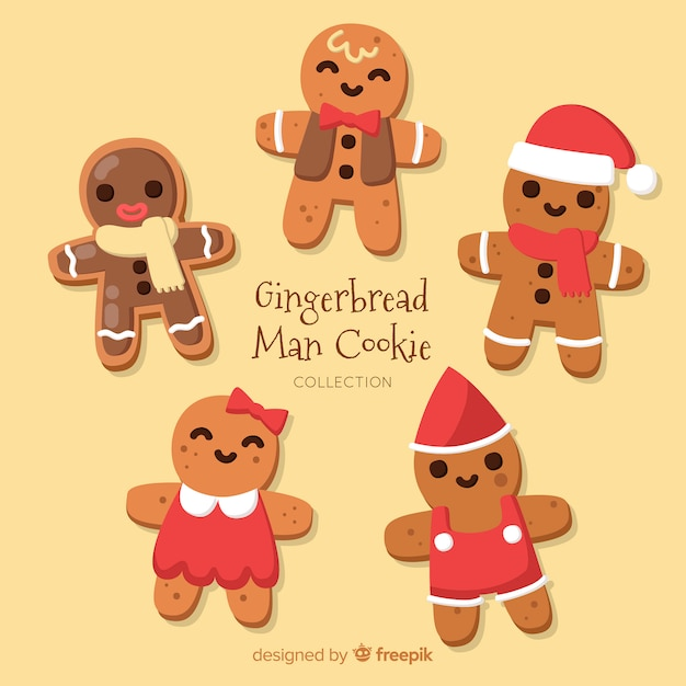 Christmas Gingerbread Men Collection Vector Free Download
