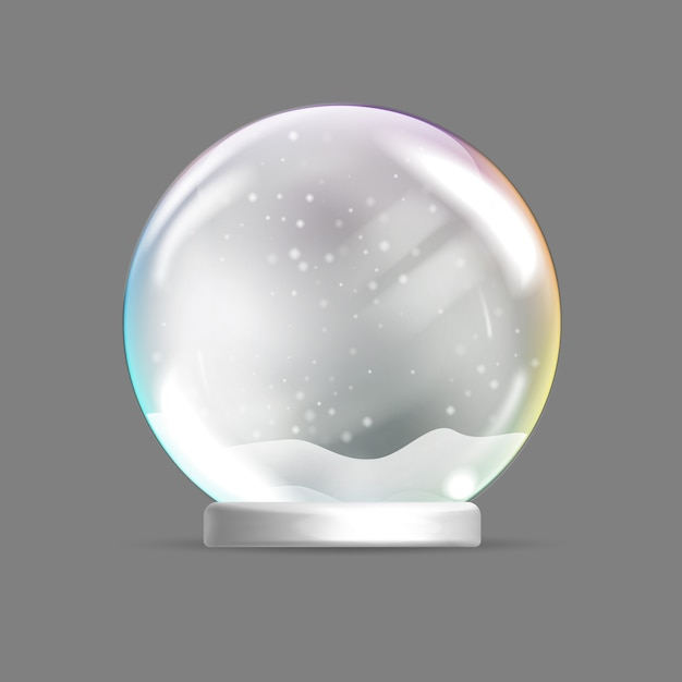 Christmas glass sphere. christmas snow globe. Premium Vector