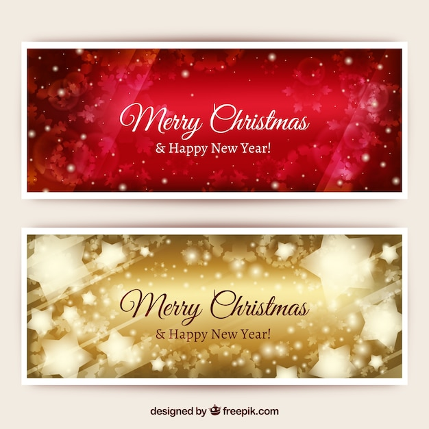 christmas glitter banners pack free vector