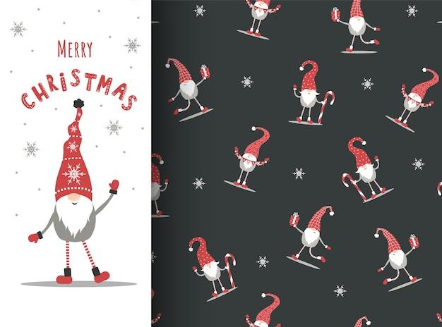 シームレスなパターンのクリスマスノーム。赤い帽子の北欧のエルフとグリーティングカード。 Premiumベクター