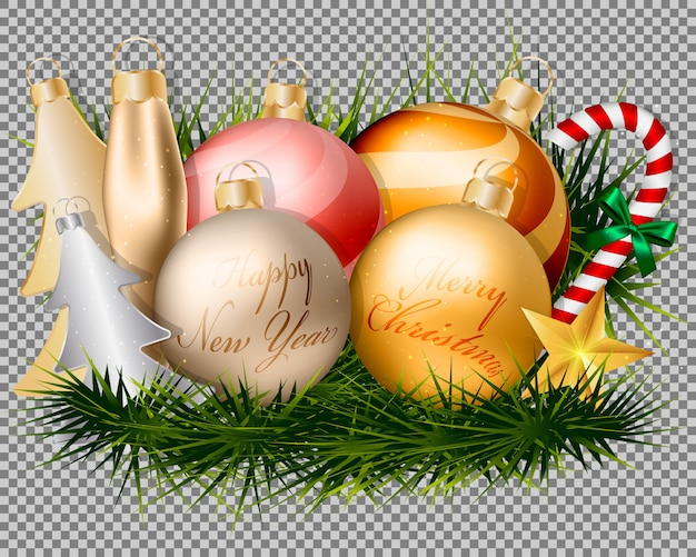 Christmas Gold Balls Decorations And Accessories Vector Premium