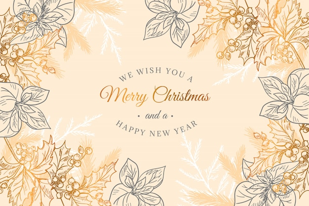 Christmas golden background Free Vector