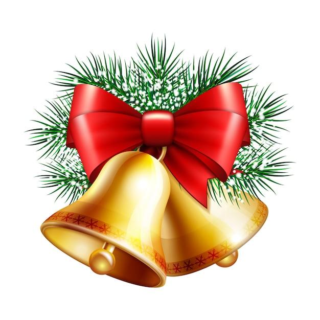 Christmas golden bells Premium Vector