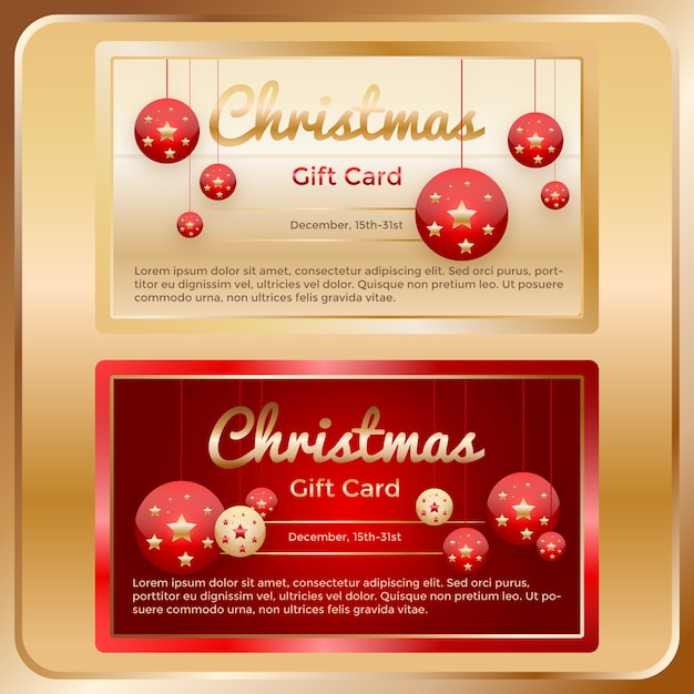 Premium Vector Christmas Golden Gift Cards